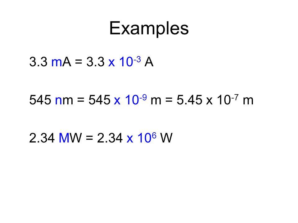 Examples 3.3 mA = 3.3 x 10 -3 A 545 nm = 545 x 10 -9 m = 5.45 x 10 -7 m 2.34 MW = 2.34 x 10 6 W