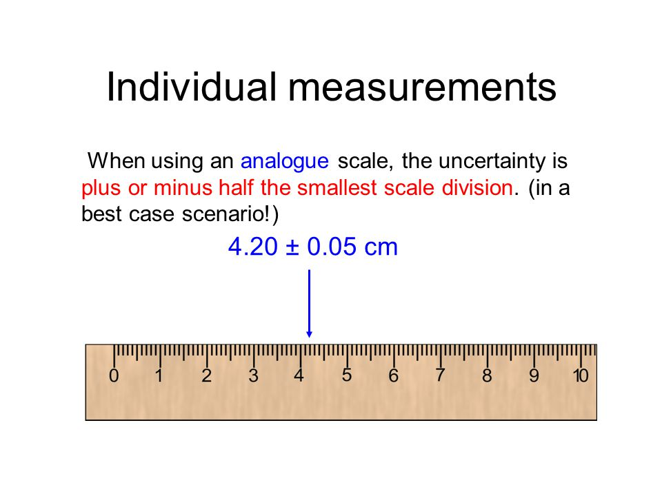Individual measurements When using an analogue scale, the uncertainty is plus or minus half the smallest scale division. (in a best case scenario!) 4.