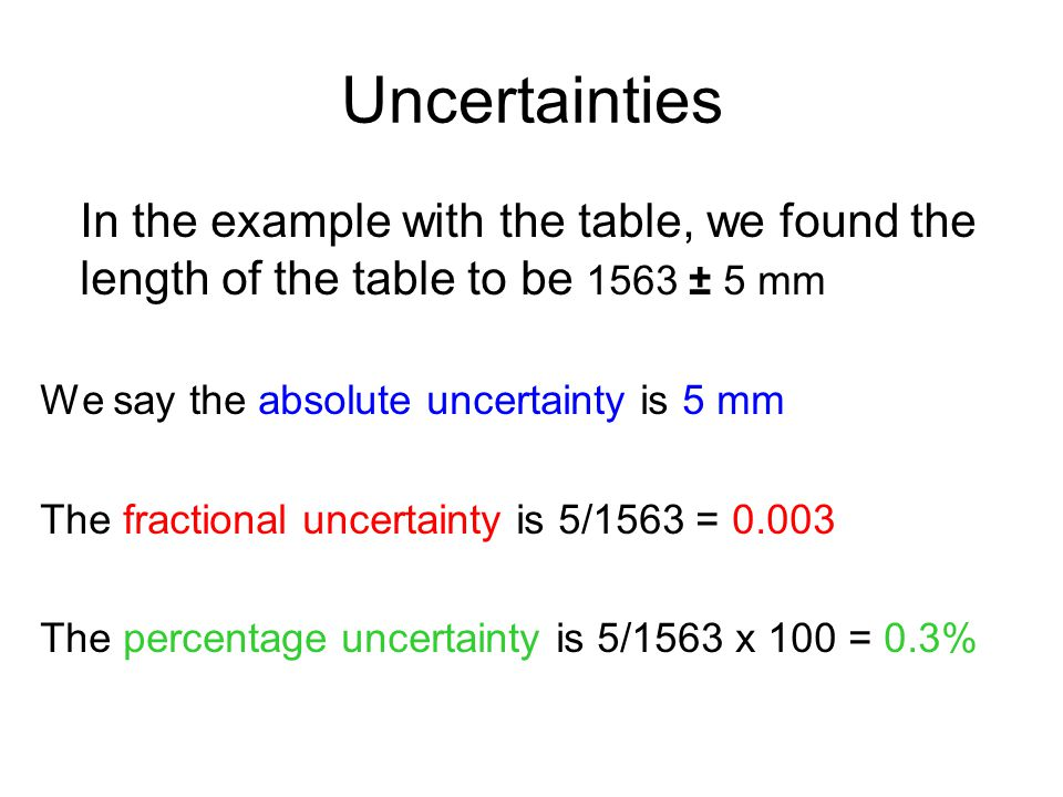 Uncertainties In the example with the table, we found the length of the table to be 1563 ± 5 mm We say the absolute uncertainty is 5 mm The fractional