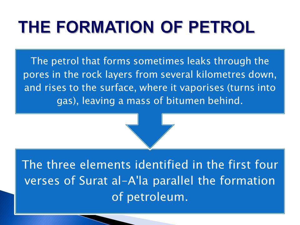 The three elements identified in the first four verses of Surat al-A'la parallel the formation of petroleum. The petrol that forms sometimes leaks thr