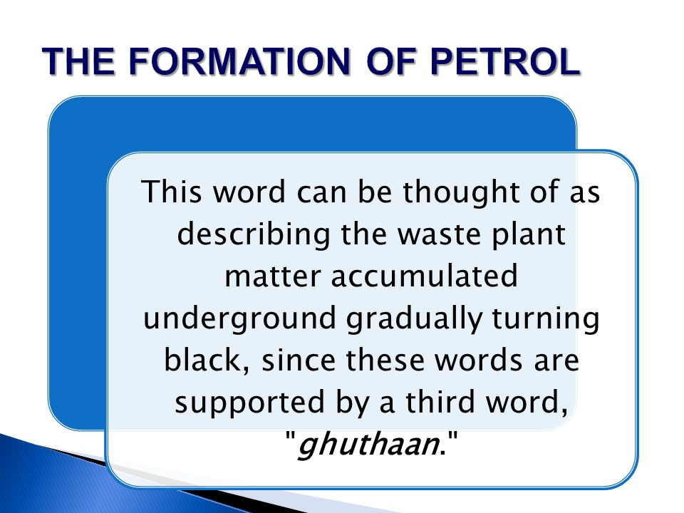 This word can be thought of as describing the waste plant matter accumulated underground gradually turning black, since these words are supported by a