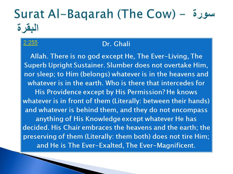 Dr. Ghali Allah. There is no god except He, The Ever-Living, The Superb Upright Sustainer.