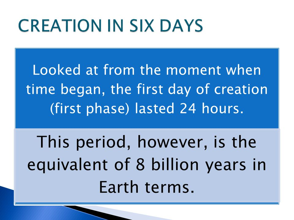 Looked at from the moment when time began, the first day of creation (first phase) lasted 24 hours.