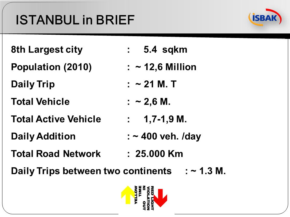 ISTANBUL in BRIEF 8th Largest city: 5.4 sqkm Population (2010): ~ 12,6 Million Daily Trip : ~ 21 M. T Total Vehicle : ~ 2,6 M. Total Active Vehicle :