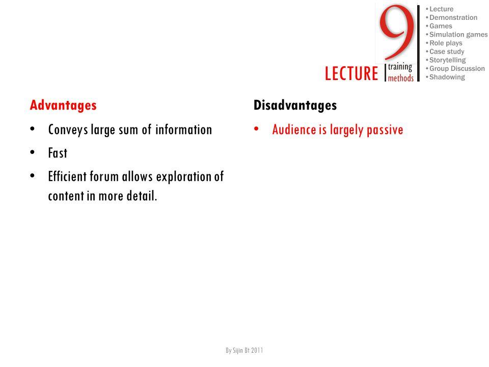 LECTURE Advantages C onveys large sum of information F ast E fficient forum allows exploration of content in more detail. Disadvantages A udience is l