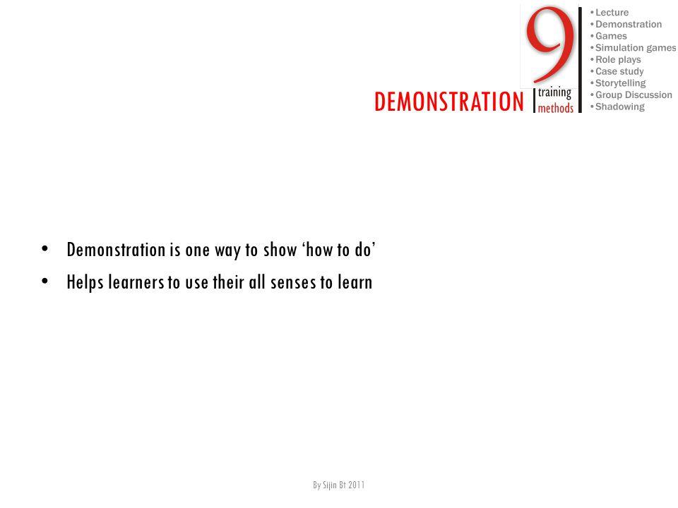 Advantages A ids comprehension and retention.S timulates participants interest.