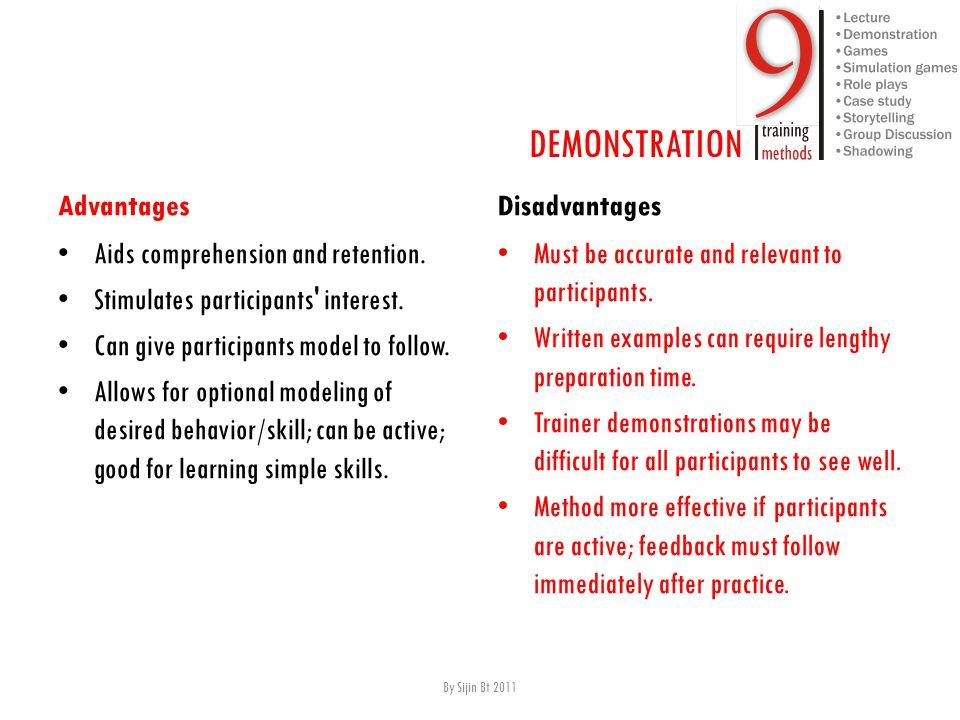 Advantages A ids comprehension and retention. S timulates participants interest.