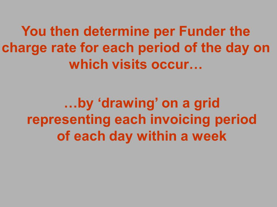You then determine per Funder the charge rate for each period of the day on which visits occur… …by drawing on a grid representing each invoicing period of each day within a week