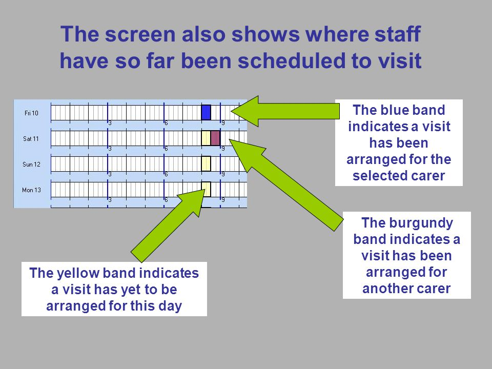 The screen also shows where staff have so far been scheduled to visit The blue band indicates a visit has been arranged for the selected carer The burgundy band indicates a visit has been arranged for another carer The yellow band indicates a visit has yet to be arranged for this day