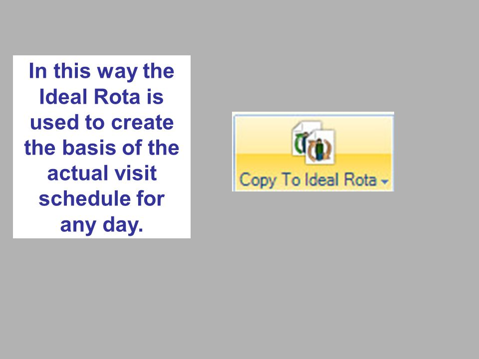 In this way the Ideal Rota is used to create the basis of the actual visit schedule for any day.