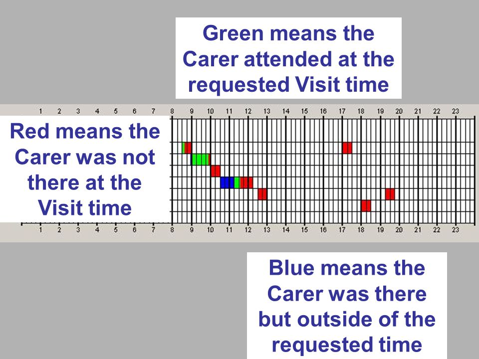 Green means the Carer attended at the requested Visit time Red means the Carer was not there at the Visit time Blue means the Carer was there but outside of the requested time