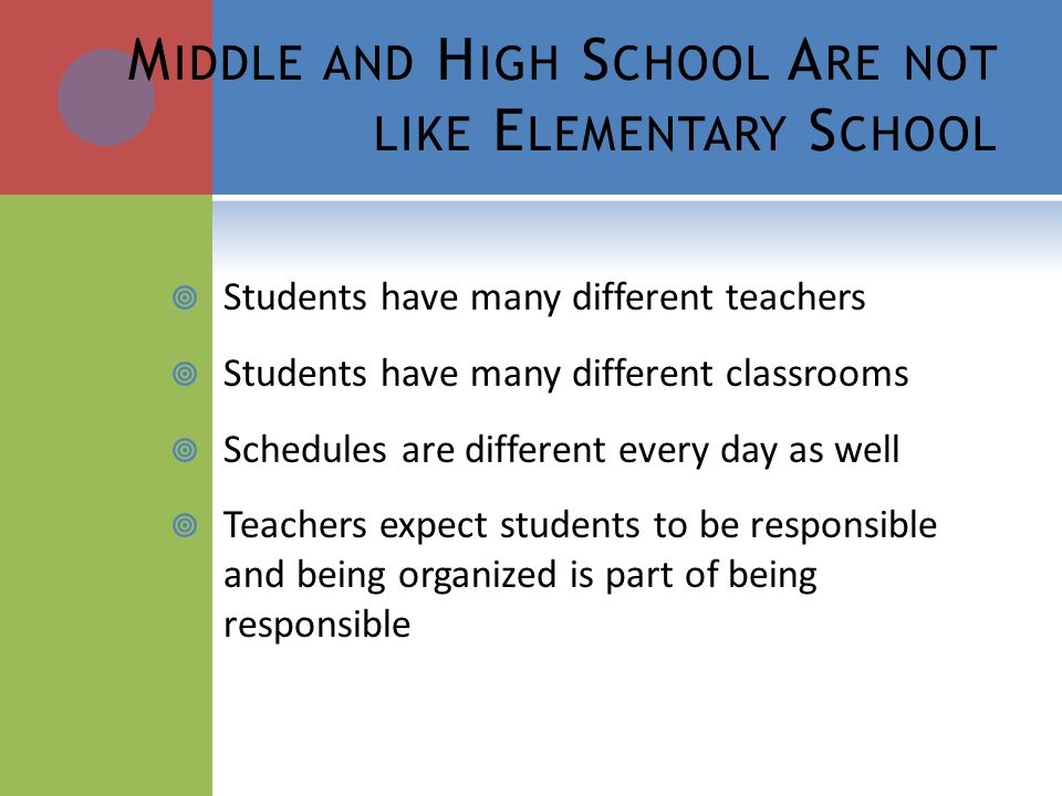 M IDDLE AND H IGH S CHOOL A RE NOT LIKE E LEMENTARY S CHOOL Students have many different teachers Students have many different classrooms Schedules ar