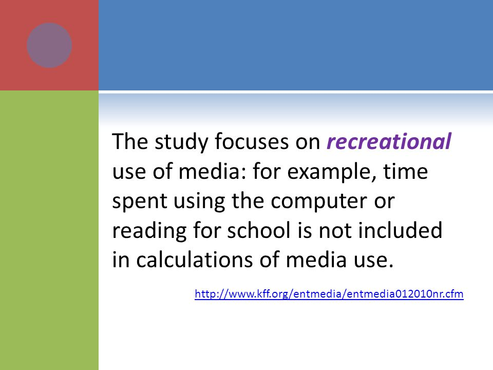 The study focuses on recreational use of media: for example, time spent using the computer or reading for school is not included in calculations of me