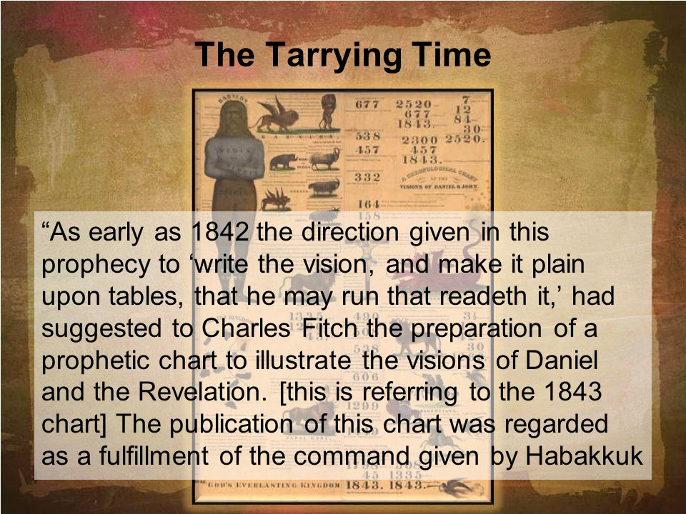 The Tarrying Time As early as 1842 the direction given in this prophecy to write the vision, and make it plain upon tables, that he may run that reade