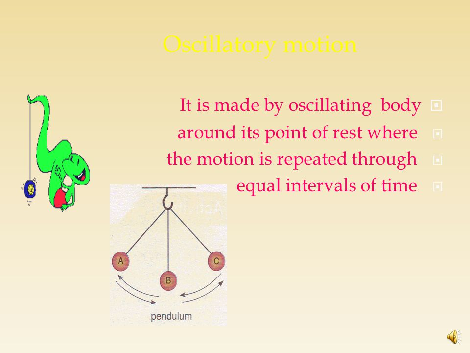 Types of motion Transitional motionPeriodic motion Has a starting & ending point EX: motion of a train Repeated in equal intervals of time. 0scillator