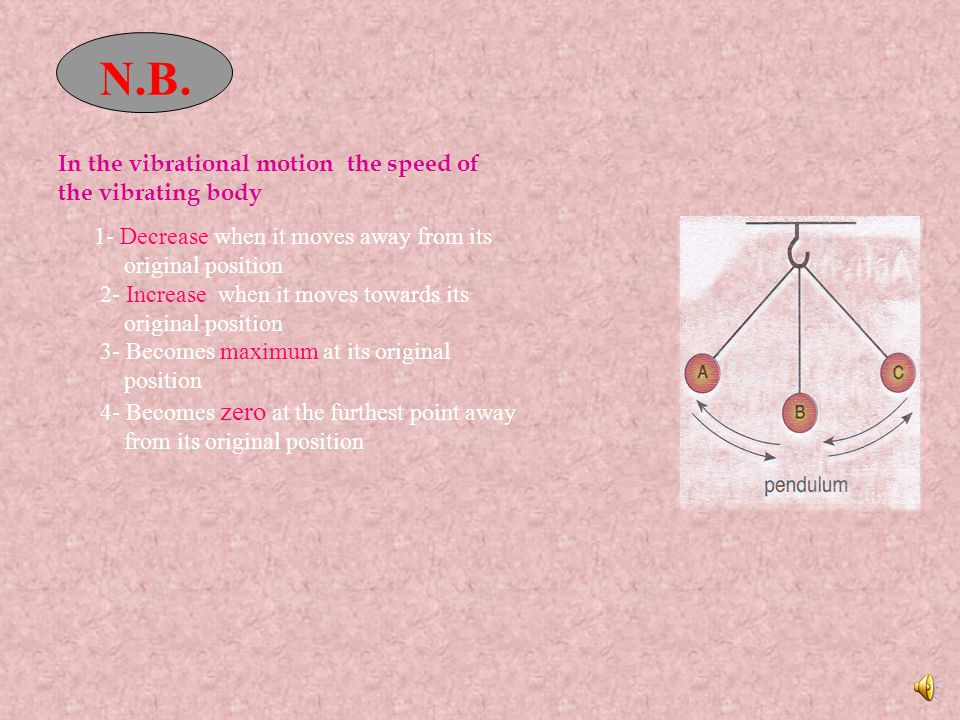 Oscillatory motion It is made by oscillating body around its point of rest where the motion is repeated through equal intervals of time