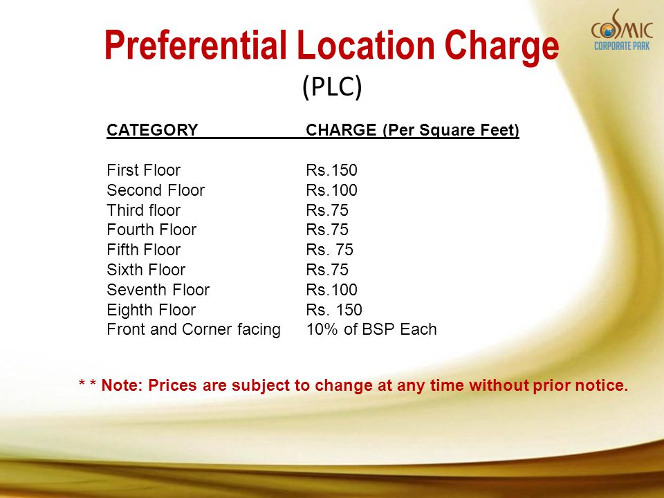 Preferential Location Charge (PLC) CATEGORYCHARGE (Per Square Feet) First FloorRs.150 Second Floor Rs.100 Third floorRs.75 Fourth Floor Rs.75 Fifth Floor Rs.