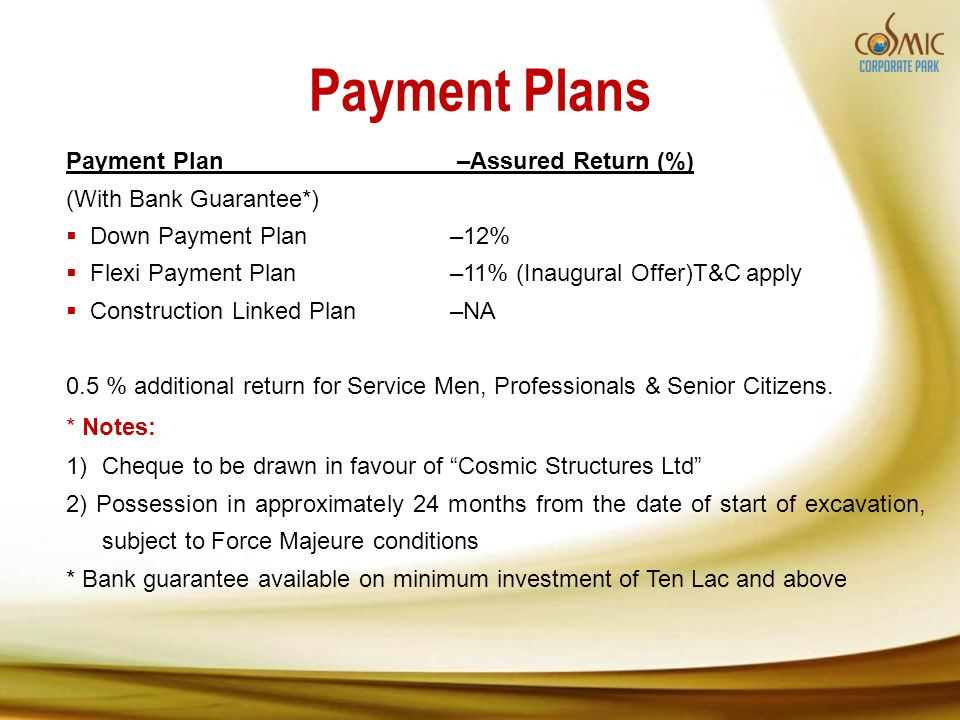 Payment Plans Payment Plan –Assured Return (%) (With Bank Guarantee*) Down Payment Plan–12% Flexi Payment Plan–11% (Inaugural Offer)T&C apply Construc