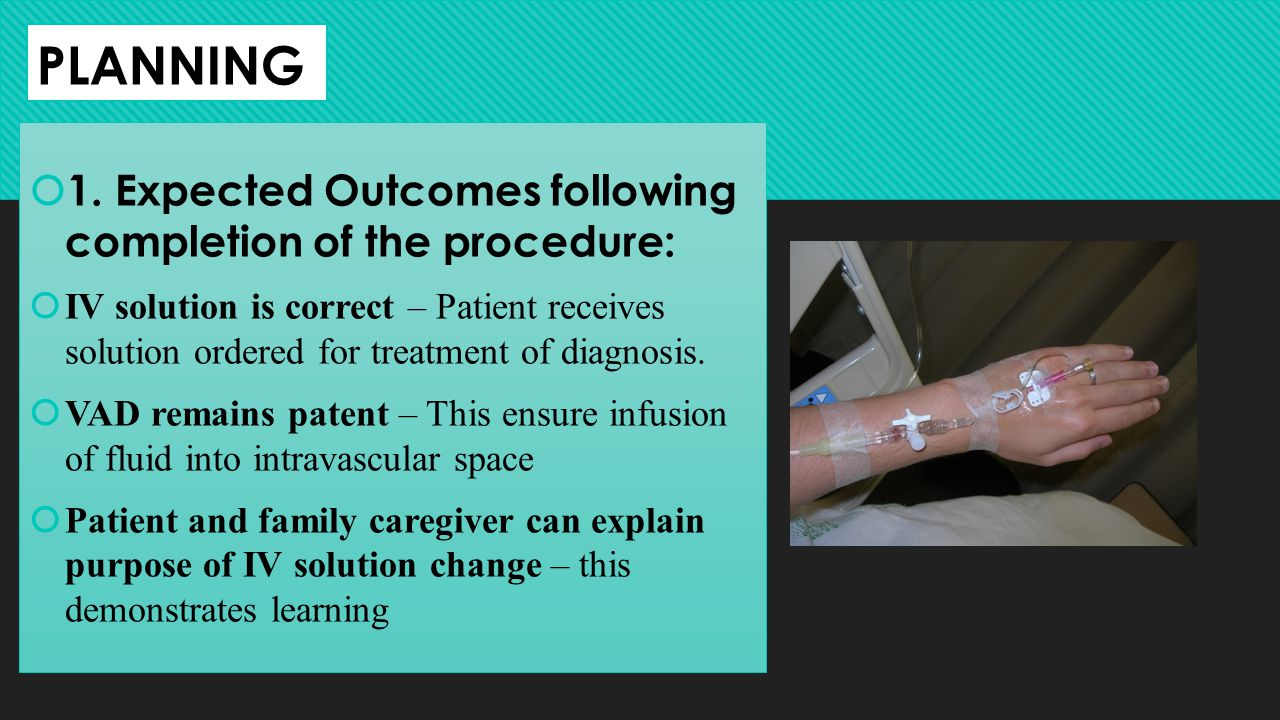 PLANNING 1. Expected Outcomes following completion of the procedure: IV solution is correct – Patient receives solution ordered for treatment of diagn