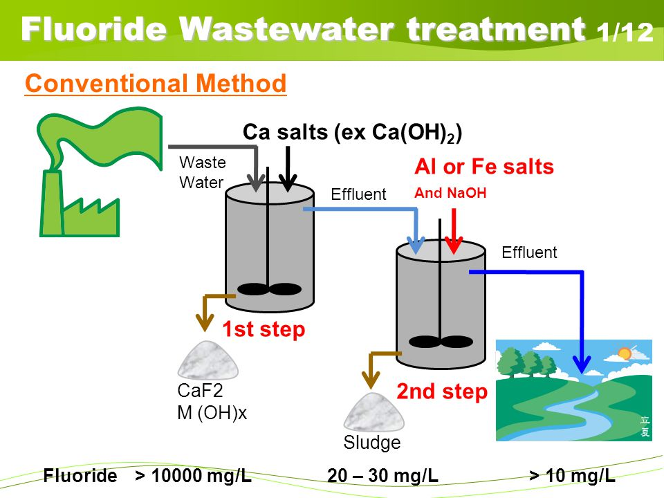 Fluoride Wastewater treatment 1/12 Fluoride > 10000 mg/L 20 – 30 mg/L > 10 mg/L SludgeCaF2 M (OH)x Ca salts (ex Ca(OH) 2 ) Al or Fe salts And NaOH Eff