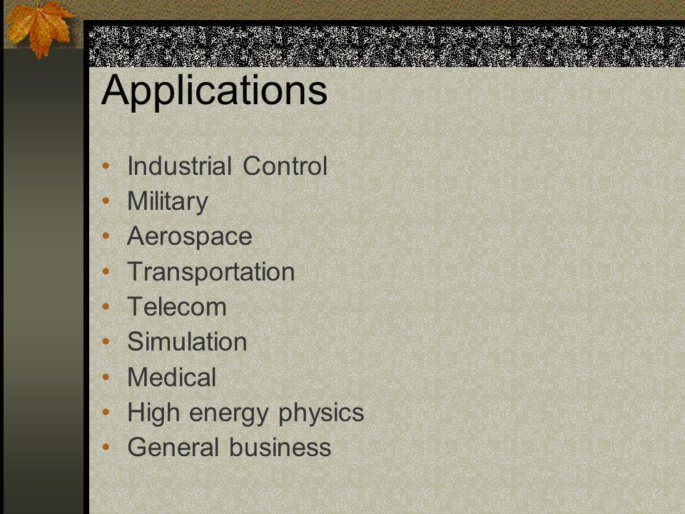 Applications Industrial Control Military Aerospace Transportation Telecom Simulation Medical High energy physics General business