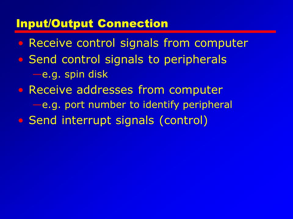 Input/Output Connection Receive control signals from computer Send control signals to peripherals e.g. spin disk Receive addresses from computer e.g.
