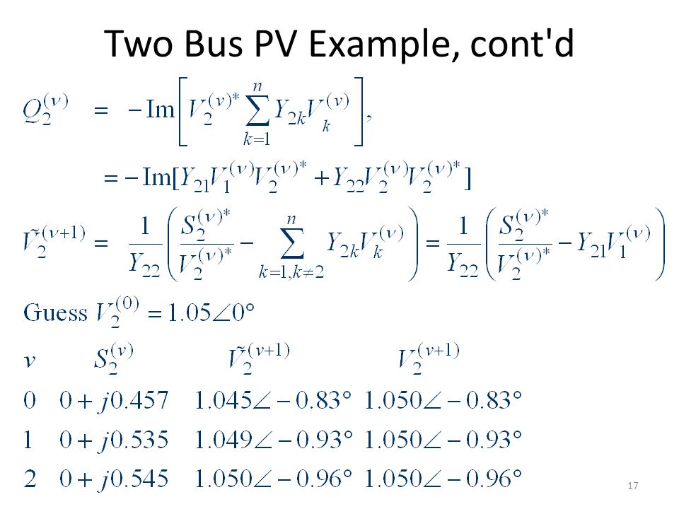 Two Bus PV Example, cont'd 17