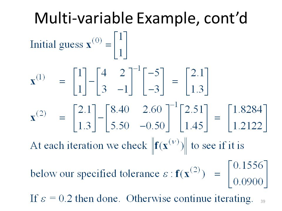 Multi-variable Example, contd 39