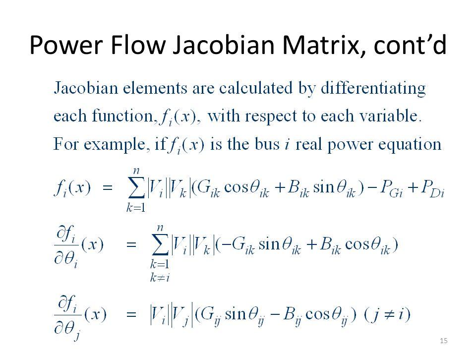 Power Flow Jacobian Matrix, contd 15