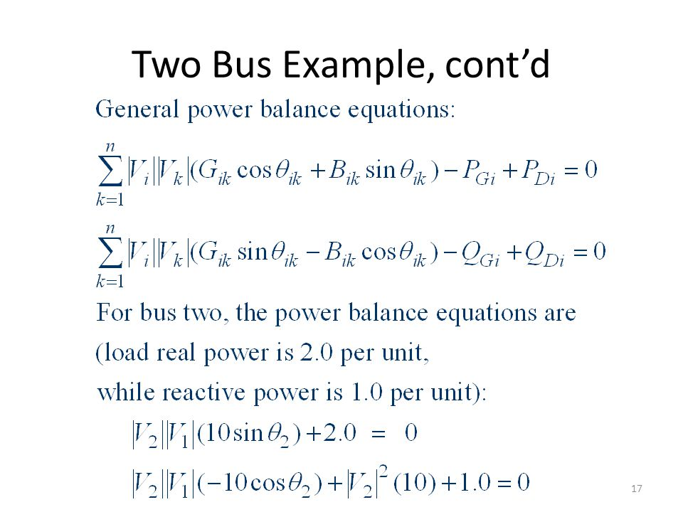 Two Bus Example, contd 17