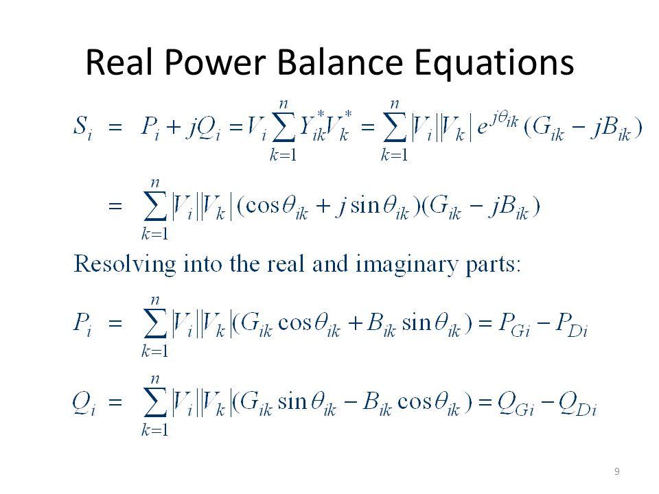 Real Power Balance Equations 9