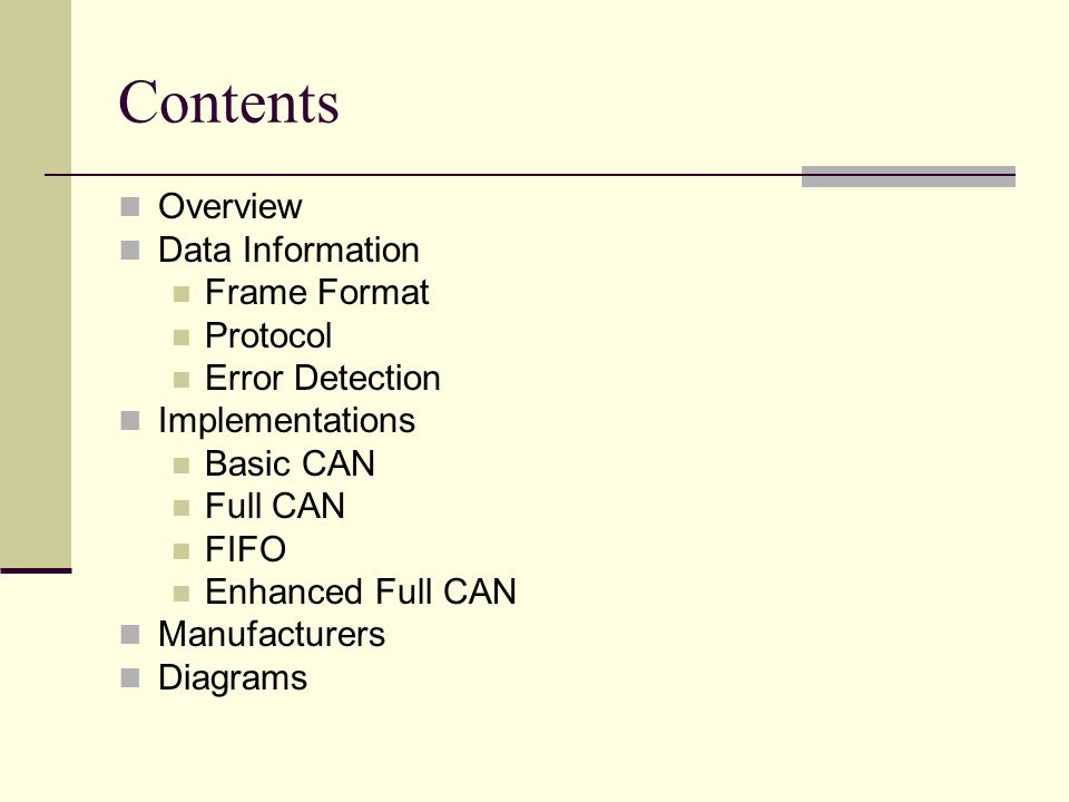 Contents Overview Data Information Frame Format Protocol Error Detection Implementations Basic CAN Full CAN FIFO Enhanced Full CAN Manufacturers Diagr