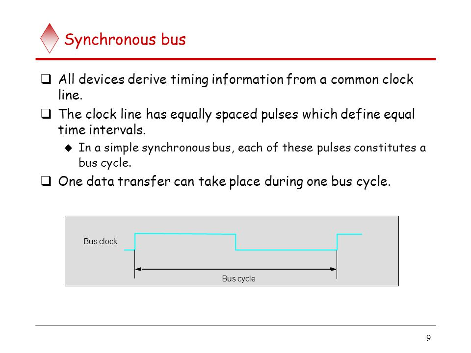 9 Synchronous bus All devices derive timing information from a common clock line. The clock line has equally spaced pulses which define equal time int