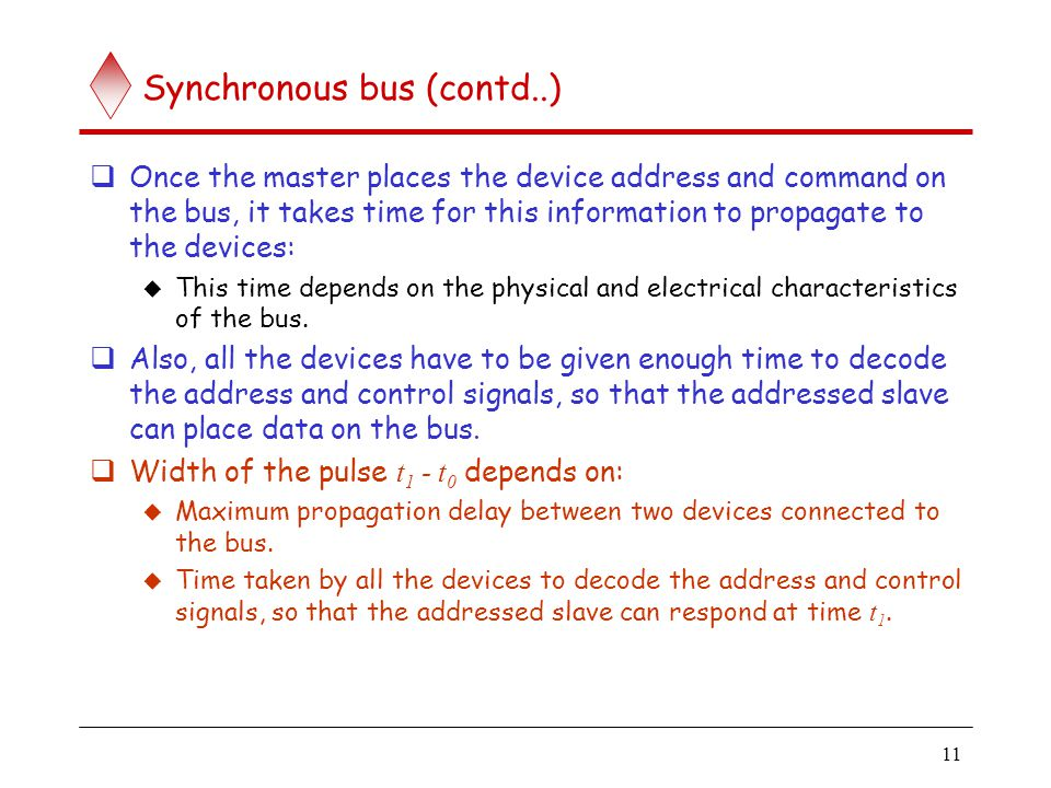 11 Synchronous bus (contd..) Once the master places the device address and command on the bus, it takes time for this information to propagate to the