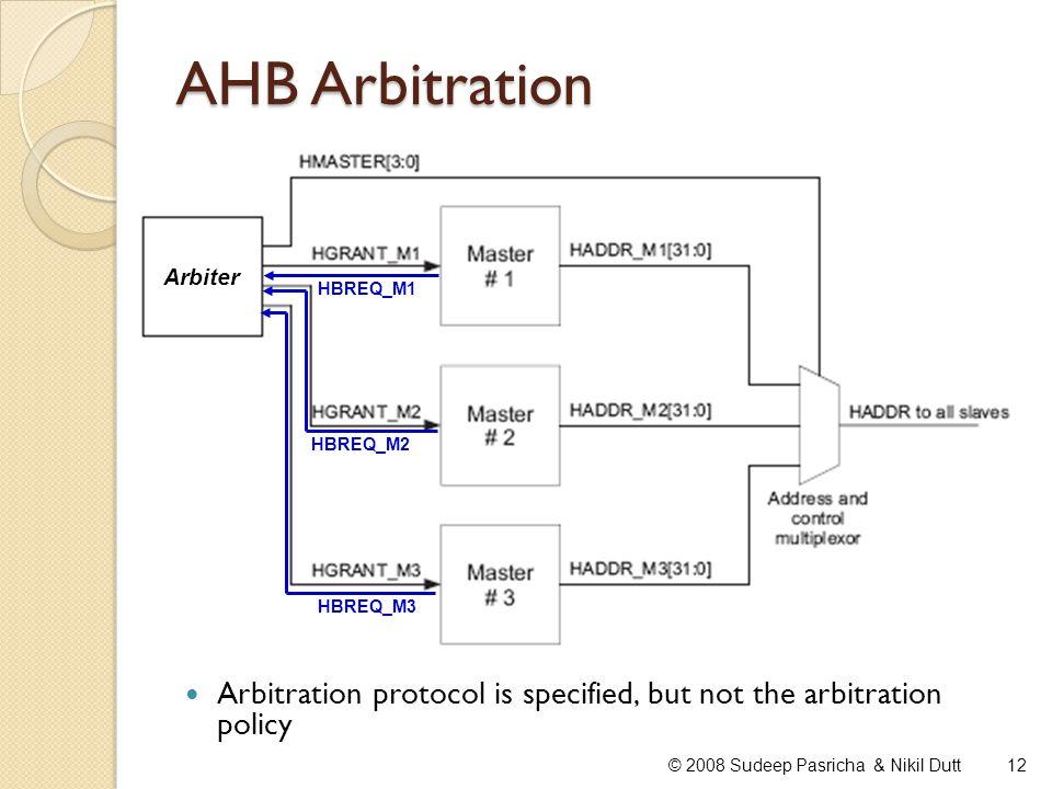 AHB Arbitration 12© 2008 Sudeep Pasricha & Nikil Dutt HBREQ_M1 HBREQ_M2 HBREQ_M3 Arbiter Arbitration protocol is specified, but not the arbitration po