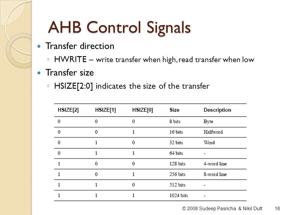 AHB Control Signals 16© 2008 Sudeep Pasricha & Nikil Dutt Transfer direction HWRITE – write transfer when high, read transfer when low Transfer size H