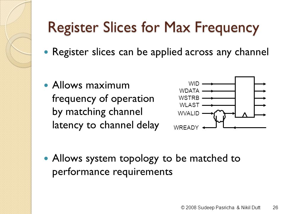 Register Slices for Max Frequency 26© 2008 Sudeep Pasricha & Nikil Dutt Register slices can be applied across any channel Allows maximum frequency of