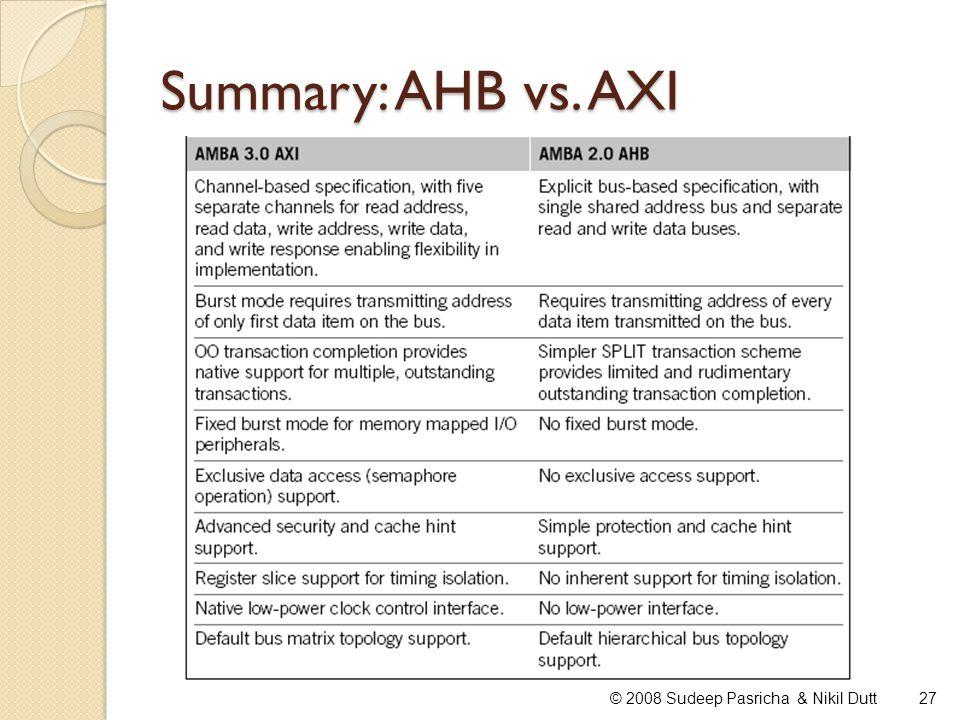 Summary: AHB vs. AXI 27© 2008 Sudeep Pasricha & Nikil Dutt