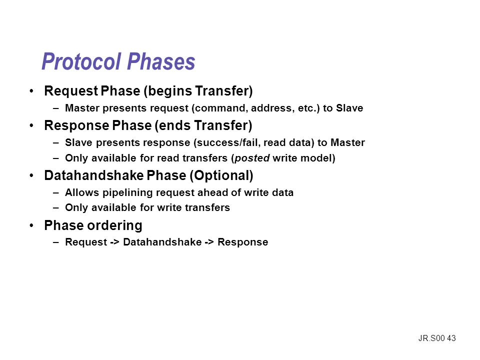 JR.S00 43 Protocol Phases Request Phase (begins Transfer) –Master presents request (command, address, etc.) to Slave Response Phase (ends Transfer) –S