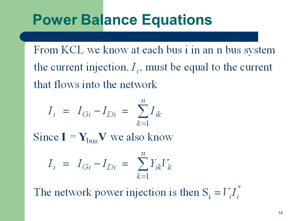14 Power Balance Equations