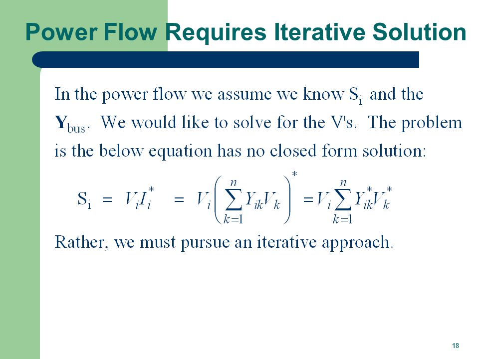 18 Power Flow Requires Iterative Solution