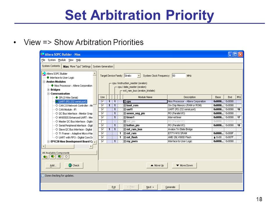 18 Set Arbitration Priority View => Show Arbitration Priorities