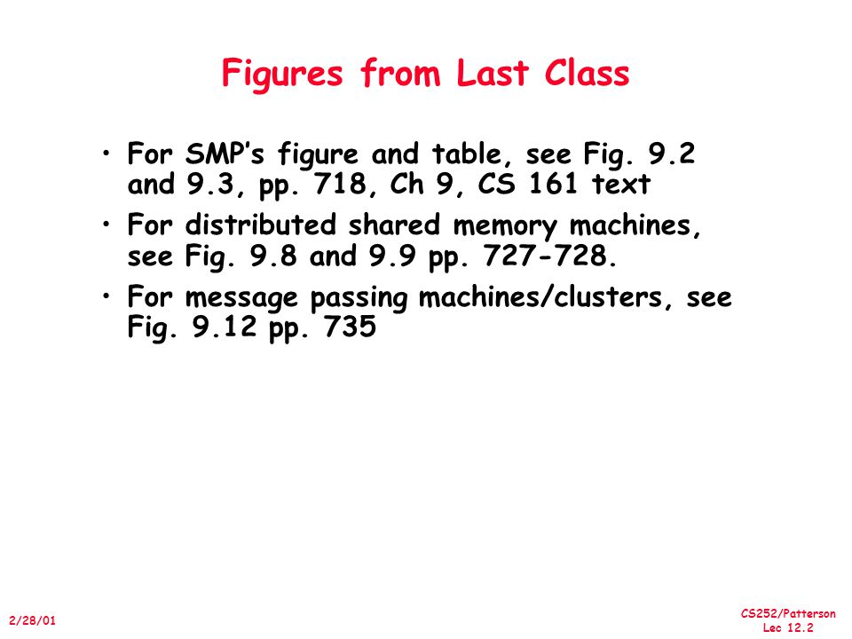 CS252/Patterson Lec 12.13 2/28/01 Implementing Snooping Caches Multiple processors must be on bus, access to both addresses and data Add a few new commands to perform coherency, in addition to read and write Processors continuously snoop on address bus –If address matches tag, either invalidate or update Since every bus transaction checks cache tags, could interfere with CPU just to check: –solution 1: duplicate set of tags for L1 caches just to allow checks in parallel with CPU –solution 2: L2 cache already duplicate, provided L2 obeys inclusion with L1 cache »block size, associativity of L2 affects L1