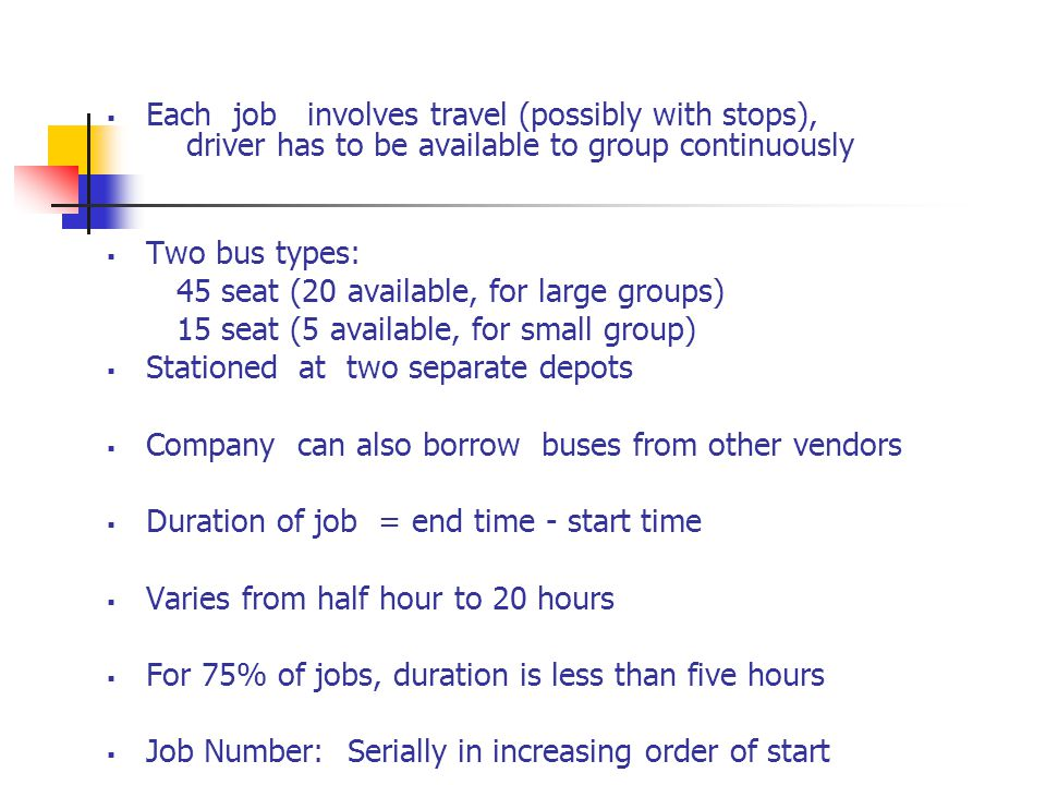 Each job involves travel (possibly with stops), driver has to be available to group continuously Two bus types: 45 seat (20 available, for large groups) 15 seat (5 available, for small group) Stationed at two separate depots Company can also borrow buses from other vendors Duration of job = end time - start time Varies from half hour to 20 hours For 75% of jobs, duration is less than five hours Job Number: Serially in increasing order of start