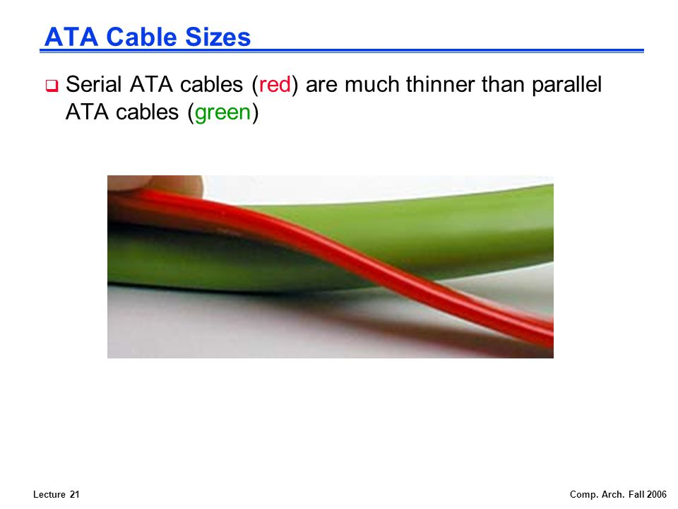 Lecture 21Comp. Arch. Fall 2006 ATA Cable Sizes Serial ATA cables (red) are much thinner than parallel ATA cables (green)
