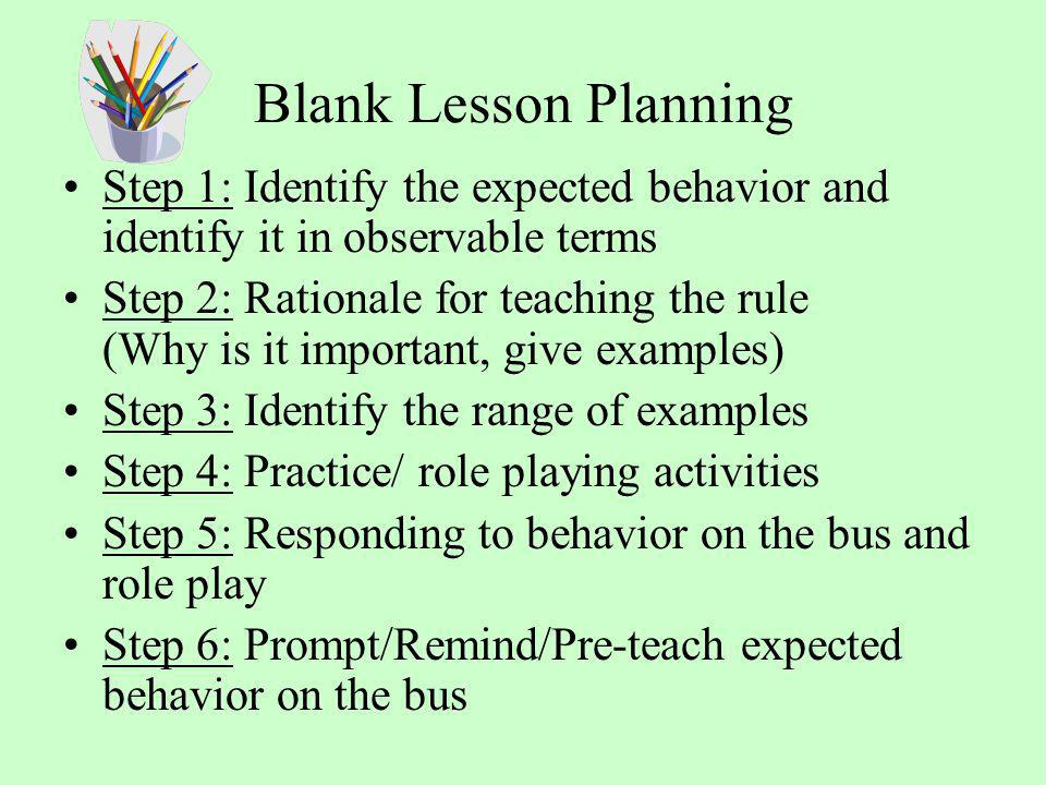 Blank Lesson Planning Step 1: Identify the expected behavior and identify it in observable terms Step 2: Rationale for teaching the rule (Why is it im
