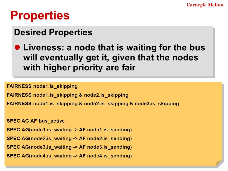 Properties Desired Properties Liveness: a node that is waiting for the bus will eventually get it, given that the nodes with higher priority are fair