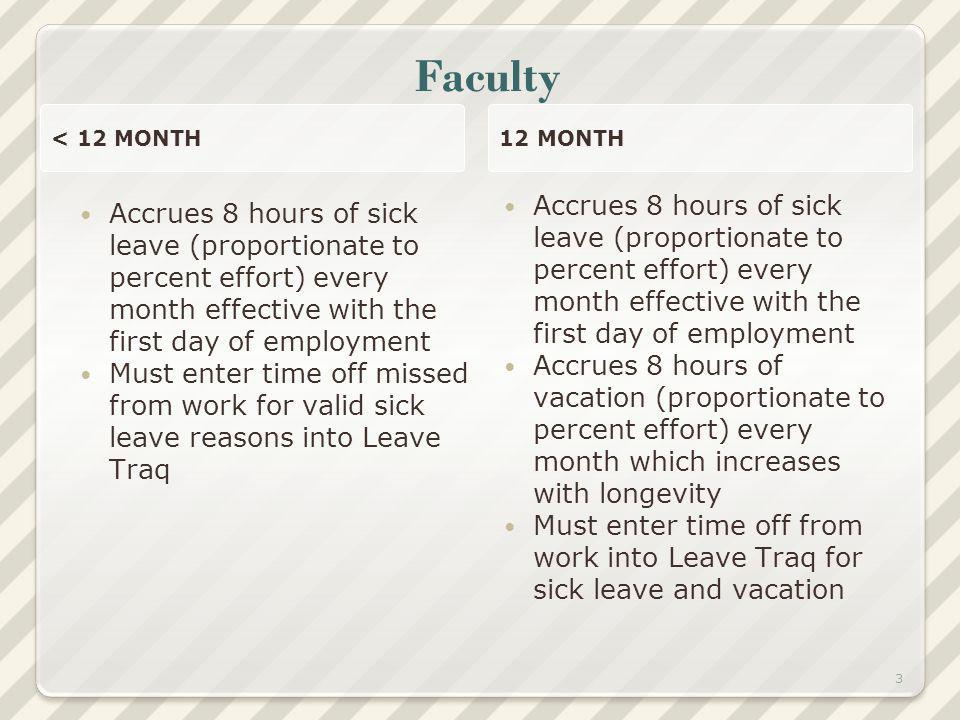 Faculty < 12 MONTH Accrues 8 hours of sick leave (proportionate to percent effort) every month effective with the first day of employment Must enter time off missed from work for valid sick leave reasons into Leave Traq 12 MONTH Accrues 8 hours of sick leave (proportionate to percent effort) every month effective with the first day of employment Accrues 8 hours of vacation (proportionate to percent effort) every month which increases with longevity Must enter time off from work into Leave Traq for sick leave and vacation 3