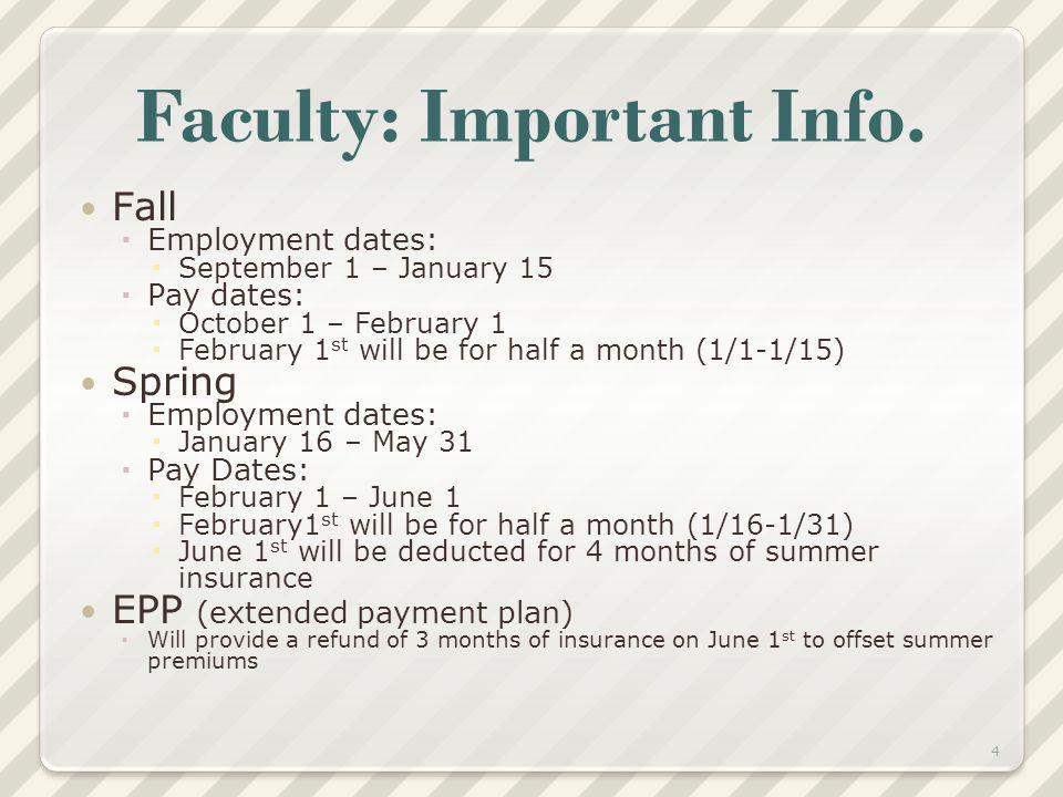 Faculty: Important Info. Fall Employment dates: September 1 – January 15 Pay dates: October 1 – February 1 February 1 st will be for half a month (1/1