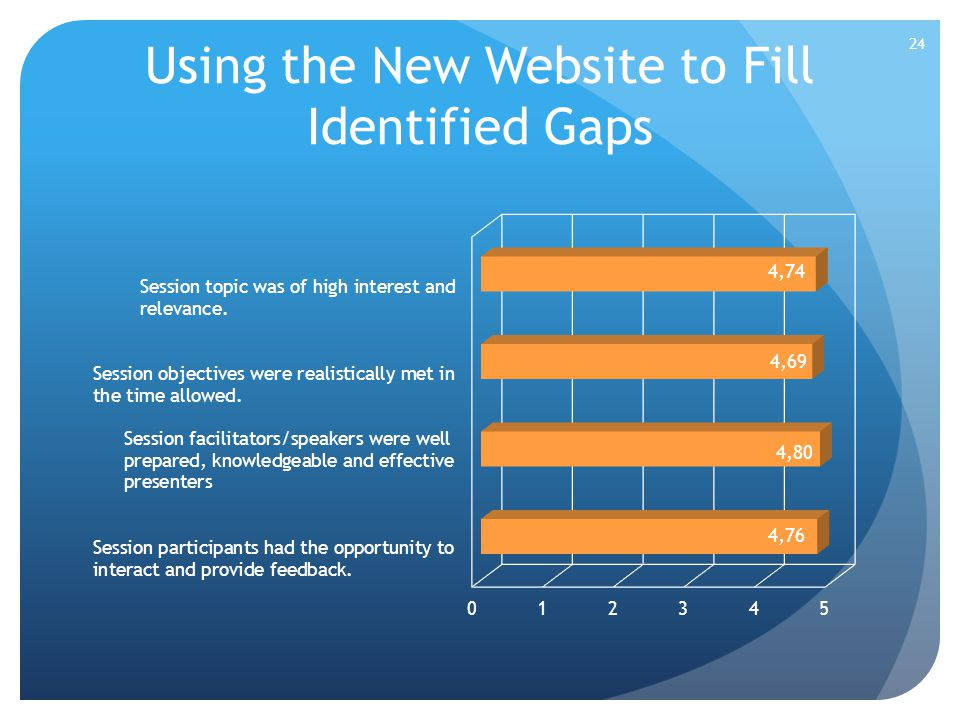 Using the New Website to Fill Identified Gaps 24